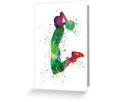 young man basketball player dunking Greeting Card
