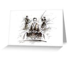 Samurai large poster, japanese warriors painting Greeting Card
