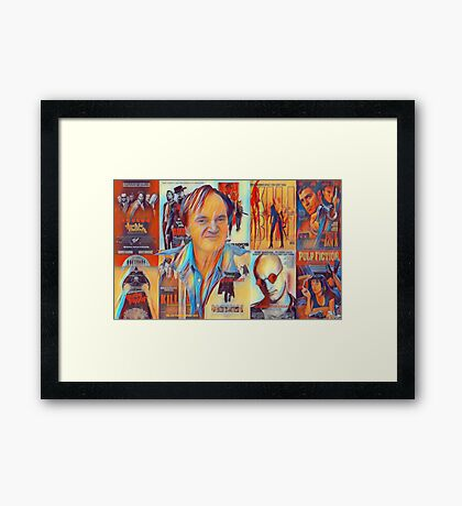 Quentin Tarantino Portrait over Movie Posters  Framed Print