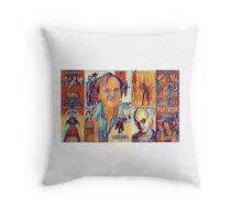 Quentin Tarantino Portrait over Movie Posters  Throw Pillow