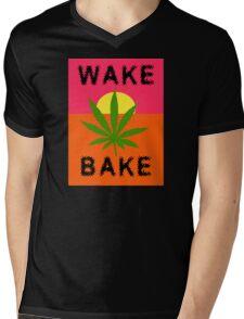 Wake & Bake Marijuana Mens V-Neck T-Shirt