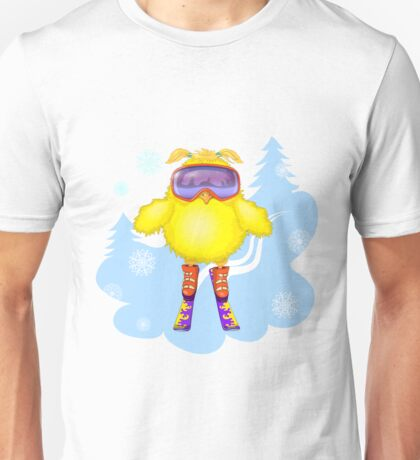 The young hen had learned to ski.  Unisex T-Shirt