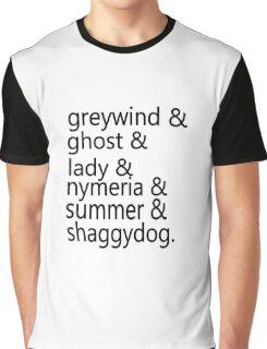 Direwolf Names Graphic T-Shirt