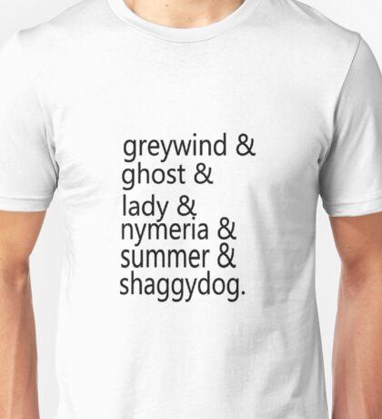 Direwolf Names Unisex T-Shirt