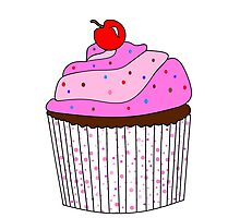 Pink Cupcake With Sprinkles Photographic Print