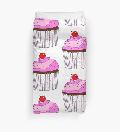 Pink Cupcake With Sprinkles Duvet Cover