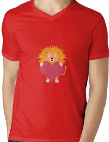 Lion with big heart Mens V-Neck T-Shirt