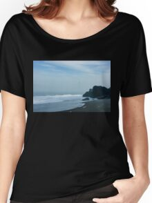 San Francisco Fog - Barely Discernible Golden Gate Bridge from China Beach  Women's Relaxed Fit T-Shirt