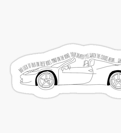 White Ferrari Sticker