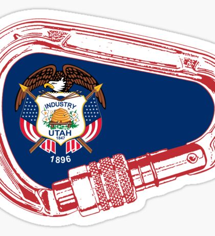 Utah Flag Climbing Carabiner Sticker