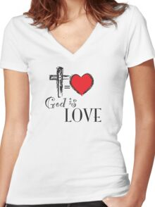God is Love Women's Fitted V-Neck T-Shirt