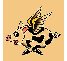 American Traditional Flying Pig Photographic Print