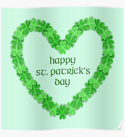 Happy St. Patricks Day Heart Poster