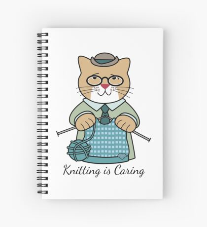 Knitting is Caring, cat man Spiral Notebook