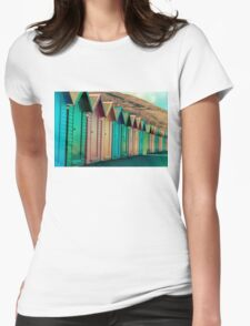 Colorful beach huts Womens Fitted T-Shirt