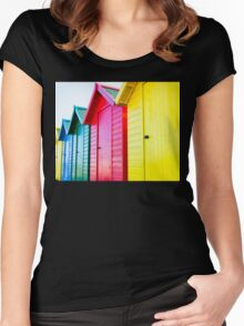 Colorful beach huts Women's Fitted Scoop T-Shirt