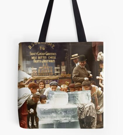 Licking blocks of ice during heat wave in New York, July, 1911 Tote Bag