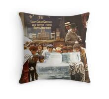 Licking blocks of ice during heat wave in New York, July, 1911 Throw Pillow