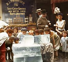 Licking blocks of ice during heat wave in New York, July, 1911 by Sanna Dullaway