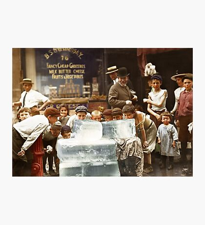 Licking blocks of ice during heat wave in New York, July, 1911 Photographic Print