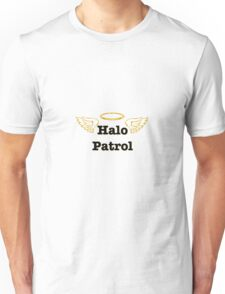 halo patrol black on gold white wings Unisex T-Shirt