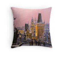 Prague Charles Bridge  Winter Evening Throw Pillow
