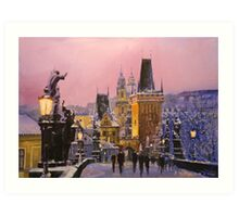Prague Charles Bridge  Winter Evening Art Print