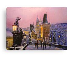 Prague Charles Bridge  Winter Evening Canvas Print