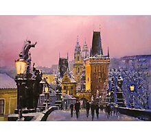 Prague Charles Bridge  Winter Evening Photographic Print