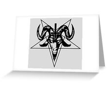 Satanic Goat Head with Pentagram (black) Greeting Card