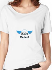 Halo Patrol  black on blue Women's Relaxed Fit T-Shirt