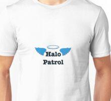 Halo Patrol  black on blue Unisex T-Shirt