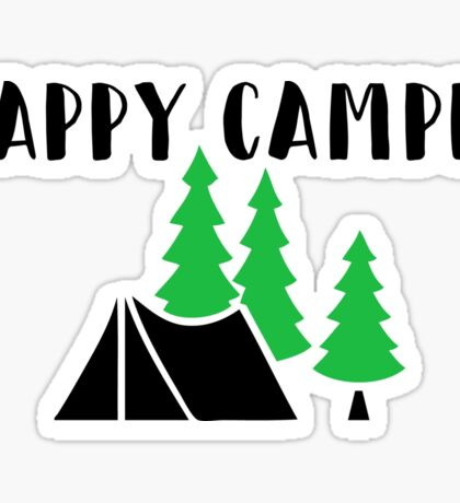 "Cute, Funny Camping ""Happy Camper"" Sticker"