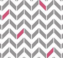 Pink & Gray Herringbone by hleggio