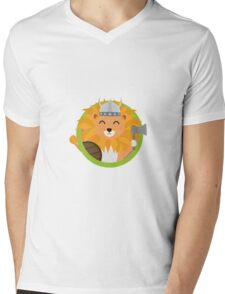 Viking lion with circle Mens V-Neck T-Shirt