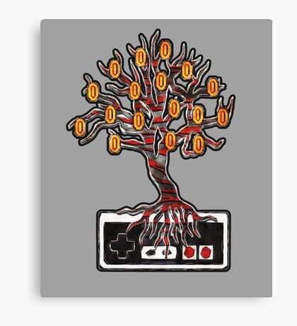 """Who Says Coins Don't Grow On Trees?"" NES controller design Canvas Print"