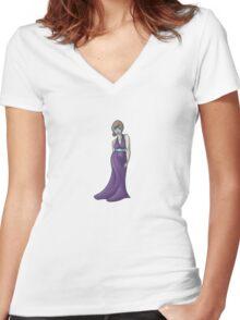 Violet Love Halter Women's Fitted V-Neck T-Shirt