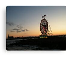 February Jersey City, New Jersey, Classic Colgate Clock at Sunset  Canvas Print