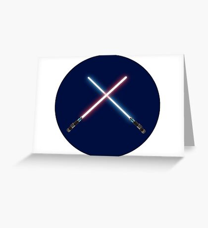 Lightsaber Battle with Background Greeting Card