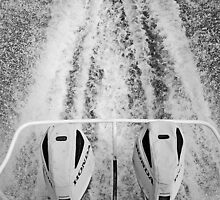 Twin Honda outboard motors with wake in the Coorong by Harvey Schiller