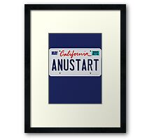 Anustart License Plate Framed Print