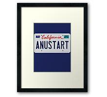 Anustart License Plate Framed Print