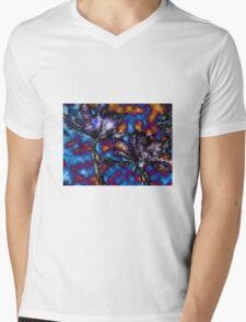 Palm Trees Lite Up With Watercolor Flare Mens V-Neck T-Shirt