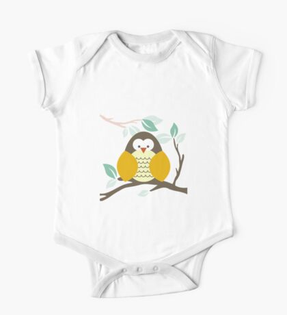 Ollie the Owl sitting on a branch One Piece - Short Sleeve