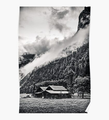 A Layer of Morning Fog- Gimmelwald, Switzerland Poster