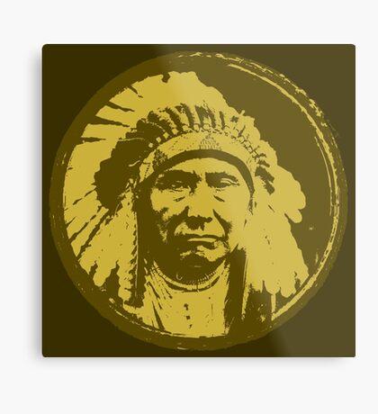 Vintage Native American Chief Metal Print