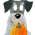 Happy Schnauzer Dog with his Pumpkin by archyscottie