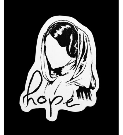"Princess Leia ""hope"" - black background Sticker"