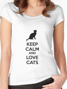 Keep calm and love cats Women's Fitted Scoop T-Shirt