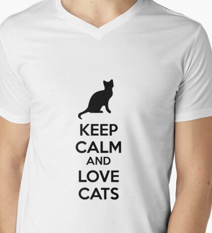 Keep calm and love cats Mens V-Neck T-Shirt